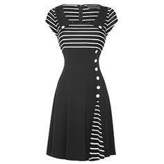 Voodoo Vixen New Womens Black White 50s 60s Flared Party Work Career Dress