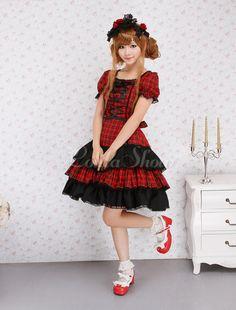 Praça do laço pescoço mangas curtas algodão doce Lolita uma peça - Lolitashow.com