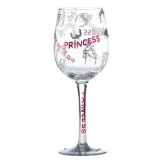 GLS11-5570J Princess Wine Glass- Pretty, pink and perfect for a princess. What more could a girl wish for? #princess #love #enesco
