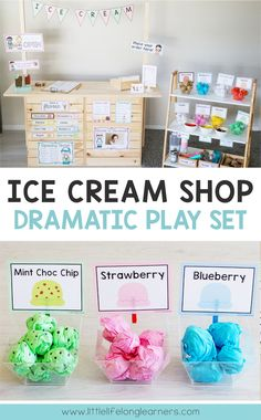 Do your little learners love to engage in imaginative play? They will love this Ice Cream Shop Dramatic Play center! It includes everything you need to set up an engaging space in your dramatic play corner! Dramatic Play Themes, Dramatic Play Area, Dramatic Play Centers, Preschool Dramatic Play, Preschool Classroom Setup, Preschool Sign In Ideas, Preschool Centers, Teaching Kindergarten, Play Ice Cream