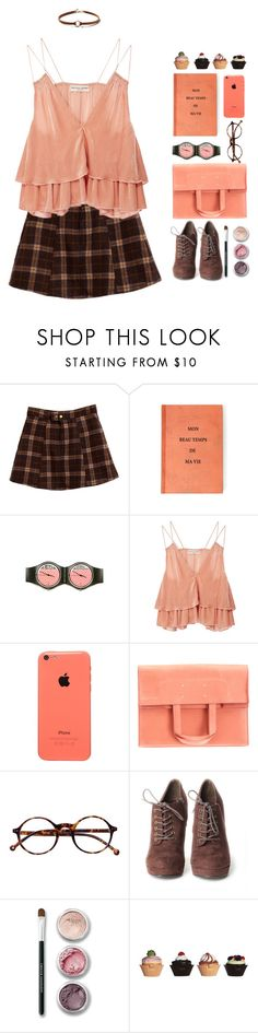 """""""Mayte"""" by sazyc ❤ liked on Polyvore featuring Swatch, Apiece Apart, Maison Margiela, Retrò, Bare Escentuals, ASOS, Dorothy Perkins, coral, plaid and brown"""