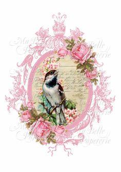 Lavender Sachet-DIY Pink Roses with Bird and Vintage Frame-C6 Envelope-Digital Download (2.00 USD) by MaBellePapeterie