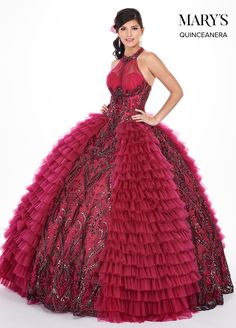 e7b07d18d4 Marys Bridal Marys Quinceanera Dresses dress with Style - Fabric -  Embroidered Tulle Soft Net and Color - Royal Gold or Berry Black