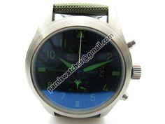 Parnis 47mm Stainless Steel Case Black Dial Green marks Japan Quartz Full Chronograph Nylon Strap Men Watch
