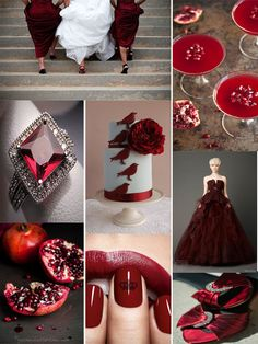 And the Bride Wore...Garnet      Happy Tuesday, my friends! Today's inspiration board exudes romance and passion with deep shades of red inspired by garnet, January's birthstone. This gorgeous gem represents all the elements that create a wonderful marriage: truth, faithfulness, friendship and commitment. Here are a few nontraditional ideas for incorporating this fabulous color into your wedding palette: