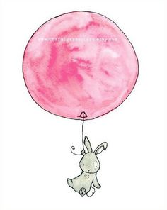 Baby Art -- Bunny Balloon grey rabbit with Strawberry Ice Cream 5x7 -- Art Print. $10.00, via Etsy.