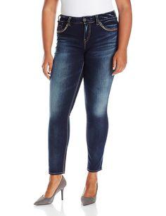 Silver Jeans Women's Plus Size Suki Mid Rise Straight Leg Jean ...