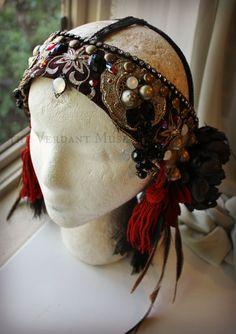 Tribal Fusion Headdress Red & Black Sari Trim por theverdantmuse