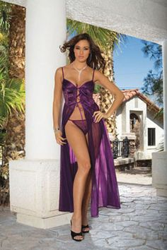Elegant yet seductive describes our long gown. Satin front bodice, lace sides, sheer skirt & matching panty. This gown is available in small, medium, large, 1X, 2X and 3X. Black, white, purple or red. price is $35.99
