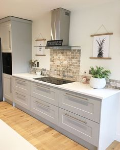 That feeling when tea is cooked the kitchen is cleaned up & the kids are sorted ? now Ive got to catch up with Last nights Love Modern Farmhouse Kitchens, Farmhouse Kitchen Decor, Home Decor Kitchen, Kitchen Interior, Home Kitchens, Kitchen Units, Kitchen Cabinet Design, Kitchen Worktops, Wren Kitchen