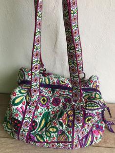 Vera Bradley Shoulder Bag Purse Medium Purple Pink Orange Flower Floral  Quilted e9474ae163887