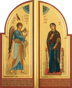 The Annunciation of the Theotokos on the Royal Doors. Byzantine Icons, Byzantine Art, Religious Icons, Religious Art, Royal Doors, Christ Pantocrator, Creativity Exercises, Art Carved, Orthodox Icons