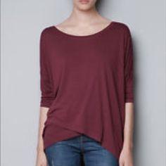 Zara Trafaluc Burgundy Dolman Top Zara Trafaluc burgundy dolman loose, drapey fit & wide scoopneck top. NWOT Zara Tops Blouses