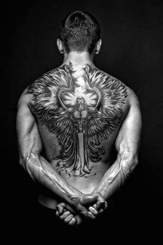 Full Back Angel Wings Tattoos For Men