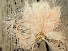 Wedding Hair Clip Bridal Fascinator Gold Brooch by kathyjohnson3