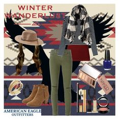 """""""Winter Wanderlust with American Eagle: Contest Entry"""" by gutierrezgirl1 ❤ liked on Polyvore featuring American Eagle Outfitters, J Brand, Yves Saint Laurent, OPI, Kevyn Aucoin, MAC Cosmetics, NARS Cosmetics, Urban Decay, INC International Concepts and women's clothing"""