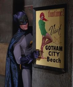 """Visit Gotham City Beach"", featuring Adam West as Batman (ca. Real Batman, Batman Tv Show, Batman Tv Series, Batman Art, Batman And Superman, Batman Robin, Batman Stuff, Batman Drawing, Batman Arkham"
