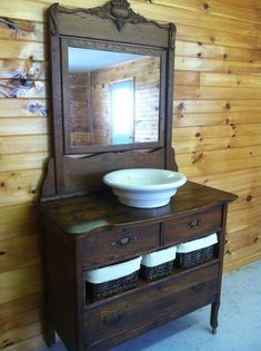 35 Rustic Bathroom Vanity Ideas to Inspire Your Next Renovation - The Trending House Farmhouse Sink Bathroom Vanity, Dresser Vanity Bathroom, Diy Vanity Mirror, Bathroom Vanity Designs, Rustic Bathroom Vanities, Small Bathroom, Master Bathrooms, Bathroom Colors, Bathroom Pink