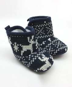 Look what I found on #zulily! Tender Toes Navy Reindeer Booties by Tender Toes #zulilyfinds