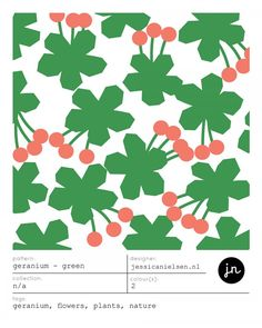 GERANIUM - GREEN surface pattern design by jessica nielsen