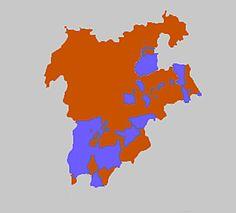 Contea del Tirolo (arancio) vs. principati vescovili di Trento e Bressanone
