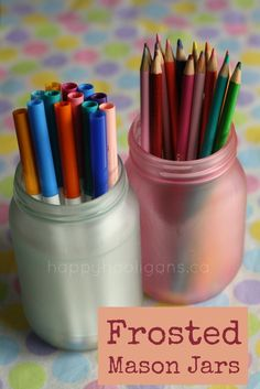 coloured mason jars (glue and food colouring) - happy hooligans  { This would be so fun for a writing center!}