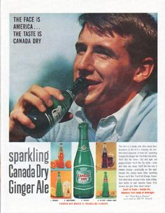 "Description: 1961 CANADA DRY vintage magazine advertisement ""The Face is America"" -- The Face is America ... The Taste is Canada Dry ... sparkling Canada Dry Ginger Ale ... Canada Dry makes 14 sparkling flavors -- Size: The dimensions of the full-page advertisement are approximately 10.5 inches x 13.5 inches (26.75 cm x 34.25 cm). Condition: This original vintage full-page advertisement is in Excellent Condition unless otherwise noted."