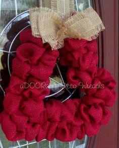 Burlap Heart Wreath by aDOORableDecoWreaths on Etsy