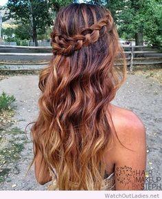 Long boho hair, brunette ombre and braid