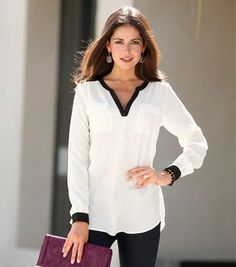 moda is your first and best source for all of the information you're looking for.moda has it all. Office Outfits, Casual Outfits, Fashion Outfits, Womens Fashion, Office Looks, Look Chic, Corsage, Ideias Fashion, Chiffon
