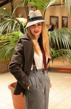 Smart and chic outfit - Wool peacoat, high collar blouse, vintage pinstripe pants with braces and burgundy tie