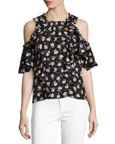 black cold shoulder blouse with ruffle - Google Search