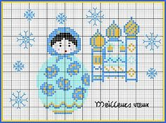 Russian Dolls Shown in blue here, there are actually four different free charts available from Frimousse in a variety of colors. The Russian dolls will make a great addition to your stitching collection. Get the free charts today from Frimousse.