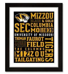 University of Missouri( MIZZOU )Subway Typographic Print - Decorative Sign