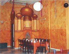 Naranja para un salón de fiestas y sobre ésta pátina .....  estrellas y la lámpara del genio