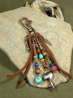 Purse Charm - Zipper Pull - Keychain Tassel - Charm Tassel - Southwest Charms - Belt Loop Clip - Native Tribal Charms Source by Leather Tassel, Leather Jewelry, Leather Craft, Boho Jewelry, Jewelry Crafts, Beaded Jewelry, Jewelery, Handmade Jewelry, Jewelry Design