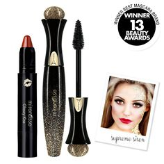 """""""Mirenesse Cosmetics"""" Supreme Sirens - Supreme Secret Weapon 24Hr Mascara (Black) + 3 in 1 Glossy Kiss Lip & Cheek Stain (Flirty Kiss #2) - AUTHENTIC. Supreme Secret Weapon + 3 in 1 Glossy Kiss Lip & Cheek Stain - 2 Piece Eye and Lip Kit. Make magic happen! Instantly create super long full lashes and transform your world like never before. All you've ever wanted from a mascara is here with the new leader of the next generation of mascaras; our Secret Weapon Supreme 24Hr Mascara!. Set to…"""