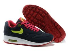 Nike Air Max 1 Black Pink Volt Womens Sneakers . nice womens sport shoes cheap sale.