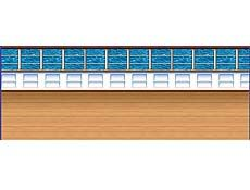 Cruise Ship Deck Backdrop - Website Description: What a beautiful view!  You and your guests will surely feel as if they are on a grand cruise ship, cruising along the wonderful ocean with this amazing Cruise Ship Deck Backdrop!  This backdrop is colorfully decorated with a brown ship floor, with a beautiful blue ocean background view.  Cruise Ship Deck Scene Setter. 4' x 30'. Use in combination with item# B52027 for a complete cruise ship deck view!