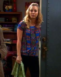 Outfit worn by Penny in The Big Bang Theory. Shop the Screen with Spylight! / Salsa+Blouson+Printed+Top. Printed, blousan top with scoop neck, short puffed sleeves and banded bottom. From Free People.