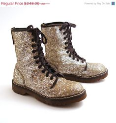 Glitter Doc Martens Boots Vintage 1990 by purevintageclothing