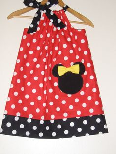 Minnie Red polka dots pillowcase dress with by minnieschild, $17.99