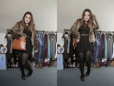 christmas meal outfit - ❤what would emma do?❤ #leopardprint #fur #black #dress #fashion #fashionblog