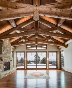 Large timber beams in this log cabin style mountain home designed and built by Kogan Builders Custom Home Builders, Custom Homes, Cabin Design, House Design, Country Builders, Mountain Homes, Mountain Style, Timber Beams, Colorado Homes