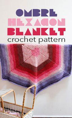 Crochet Pattern for an ombre hexagon blanket