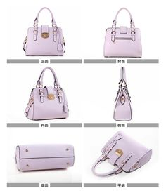 Faux-Leather Twist-Lock Tote, Lilac , One Size - Axixi | YESSTYLE