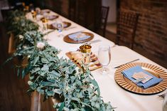 Green, Ivory, and Gold Head Table with Gingham Napkins | Mindy Sue Photography | Wintery Blush and Slate Blue Wedding