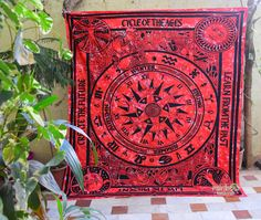 RED Celtic Cycle of Ages Tapestry hippie wall hanging ethnic bohemian cotton beach dorm decor blanket throw India double twin by rainbowhandicraft on Etsy
