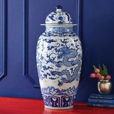 Blue and White Long Dragon Temple Jar