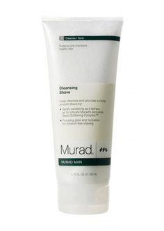 Murad Cleansing Shave £20.70, lathers into the perfect shave cream for smooth, clear skin.  Provides glide for irritation free shaving and Exfoliates and protects to help prevent nicks and cuts.    As you cleanse your face and neck with this antioxidant-rich formula, Cleansing Shave lathers into the perfect shave cream for smooth, clear skin.